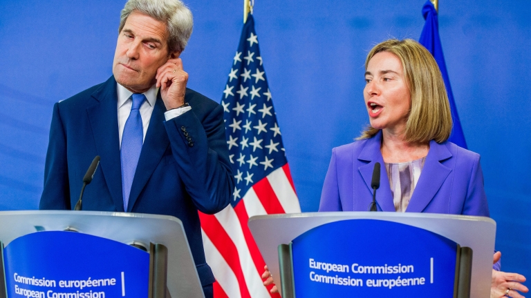 epa05394132 Federica Mogherini (R), the High Representative of the European Union for Foreign affairs and Security policy, and US Secretary of State John Kerry (L) speak at a joint news conference following their meeting in Brussels, Belgium 27 June 2016. Kerry is on a one day trip to Brussels to meet with NATO and EU officials.  EPA/STEPHANIE LECOCQ
