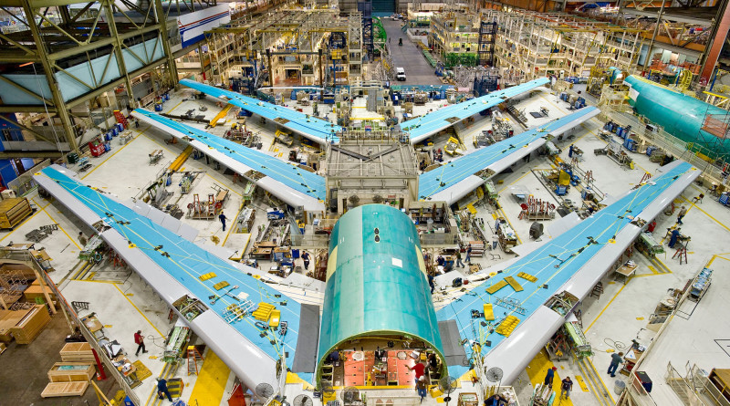 3 - 747-8 Wing Sets in the 747 Factory in Everett K64744